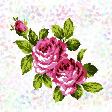 К-304 Букет троянд. Фрагменти для вишивки на водорозчинному флізелін.