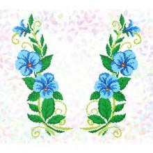 """К - 278 """"Блакитні квіти"""" Водорозчинний флізелін для вишивки"""