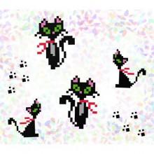"""К - 104 """"Кішки"""" Водорозчинний флізелін для вишивки"""