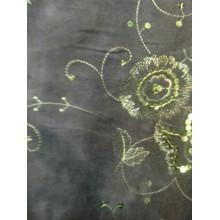 Тканина мікровельвет стрейч з вишивкою та паєтками