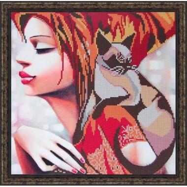 """Арт. Б-3154 - """"Дівчина з кішкою"""""""