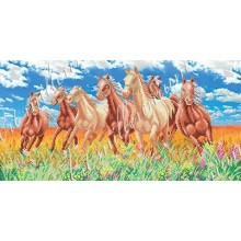 """Картина з бісером W-215 """"Коні в поле"""""""