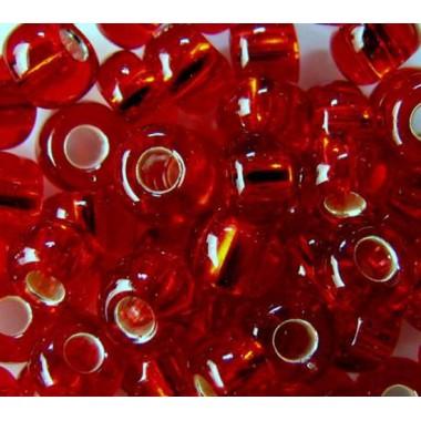 Бісер №97070 6/0, темно-червоний з сріблом / 5 грам