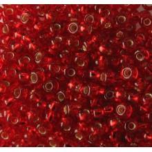Бісер №97070 8/0, темно-червоний з сріблом / 5 грам