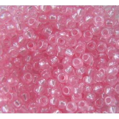 Бісер №08198, рожевий з перламутровою серединою/1 грам