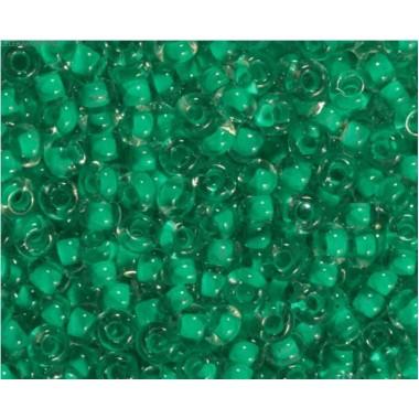 Бісер №38656, прозорий зелений з кольоровою серединою, 1г