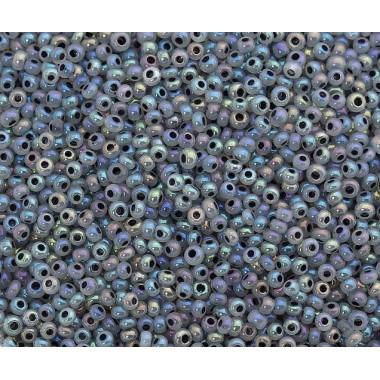 Бісер №57549, сіро-ліловий райдужний з чорною лінією/1 грам