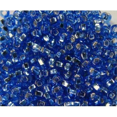 Бісер №37030 кв., Світло-синій зі срібною квадратною серединкою / 1 грам