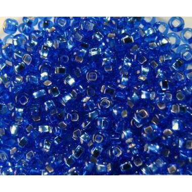 Бісер №37050 кв., синий з срібною квадратною серединкою / 1 грам