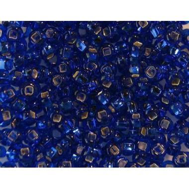Бісер №37080 кв., синий з срібною квадратною серединкою / 1 грам