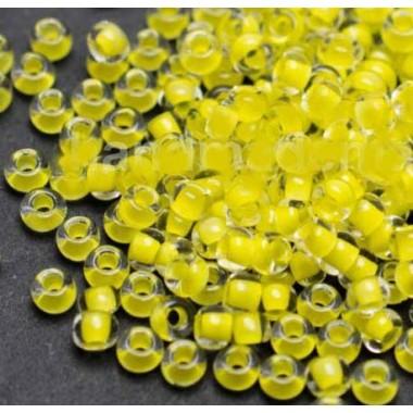 Бісер №38386, яскравий жовтий з прокрасом/1 грам