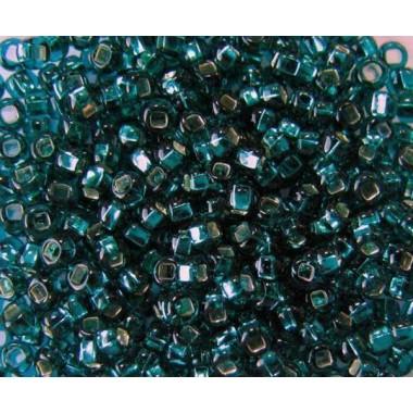 Бісер №57710 кв., бірюзовий зі срібною квадратною серединкою / 1 грам