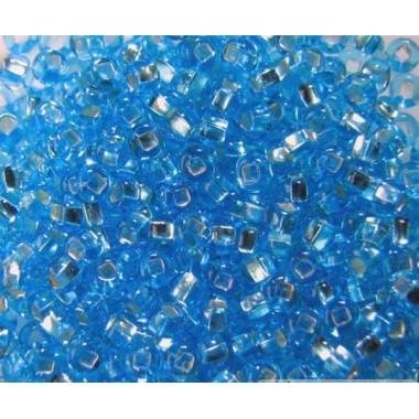 """Бісер №67010 кв, блакитний """"вогник"""" з квадратної серединкою / 1 грам"""