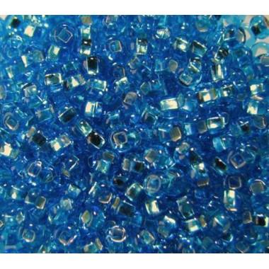 Бісер №67030 кв., темно-блакитний зі срібною квадратною серединкою / 1 грам