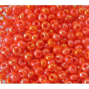 Бісер №94140, червоно-помаранчевий райдужний / 1 грам