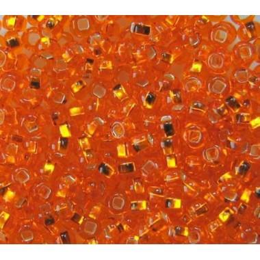 """Бісер №97000 кв., темно-оранжевий """"вогник"""" з квадратної серединою / 1 грам"""