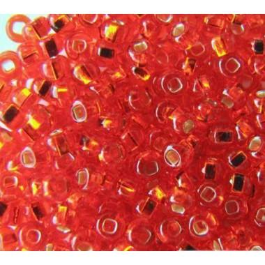 Бісер №97050 кв., червоний зі срібною квадратною серединкою / 1 грам