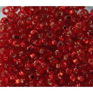 Бісер №97070 кв., темно-червоний з квадратною серединкою / 1 грам