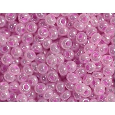 Бісер №37126, перловий рожевий з кольоровою серединою, 1г