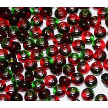 Бісер №52797, червоно-зелений прозорий/ 1 грам