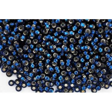 Бісер №67100, блакитний темний з срібною серединою, 1г