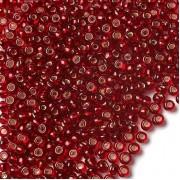 Бісер №97070, прозорий червоний з сріблом, 1г