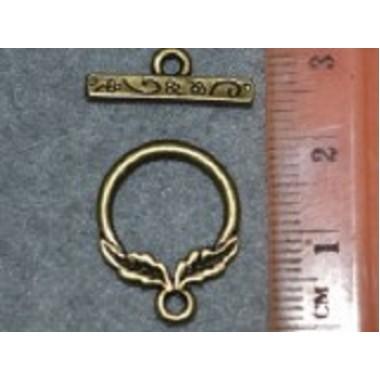 Застібка-тогла, 15 мм, бронза
