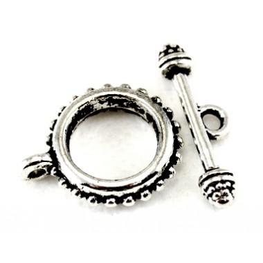 Застібка-тогла 16 мм, античне срібло