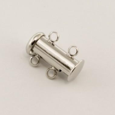 Замочок слайдер на 2 нитки, 15 мм, срібло