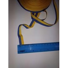 Стрічка репсова жовто-блакитна, 15 мм