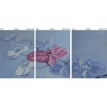 """Картина з бісером К-516 / 1,2, 3 Триптих """"Орхідеї"""""""