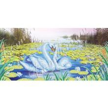 """Картина з бісером W-214 """"Лебеді в ліліях"""""""