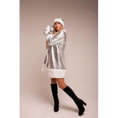 Костюм Снігуроньки жіночий (тканина-диско срібло)