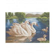 Картина з бісером А4-К-245 Сімейство лебедів