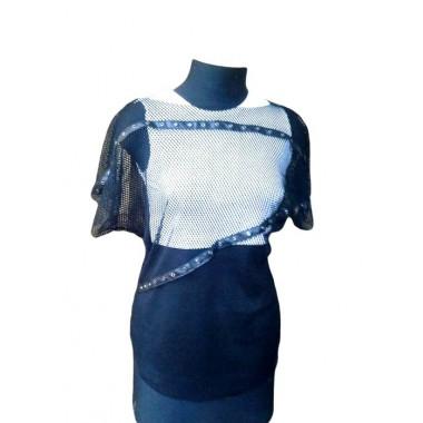 Блуза з сітки з декором