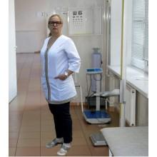 Медичний халат на блискавці з оздобленням